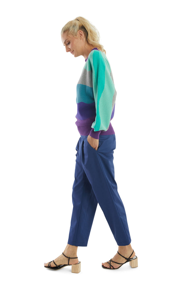 Purple Aqua Stripes Dolman Pullover
