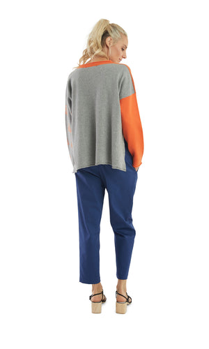 Orange Grey Mix Pattern V-Neck Pullover