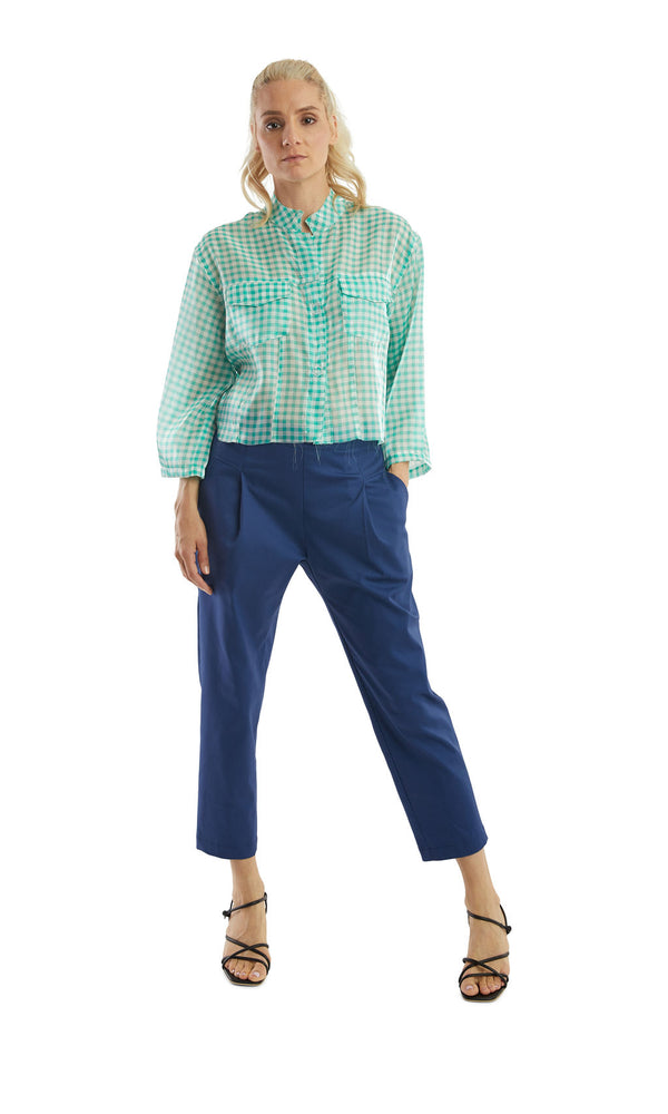 Load image into Gallery viewer, Green Gingham Denim Jacket