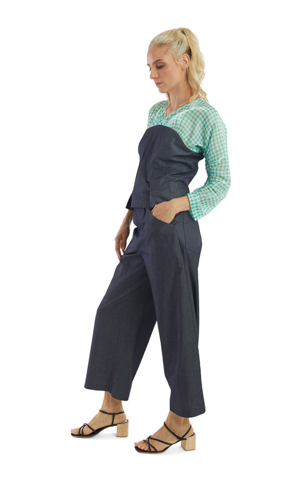 Chambray High Waisted Pants