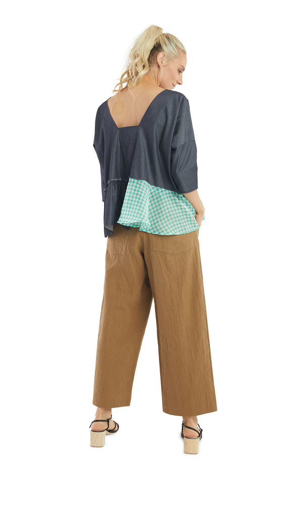 Mix Media Chambray Baby-doll Top