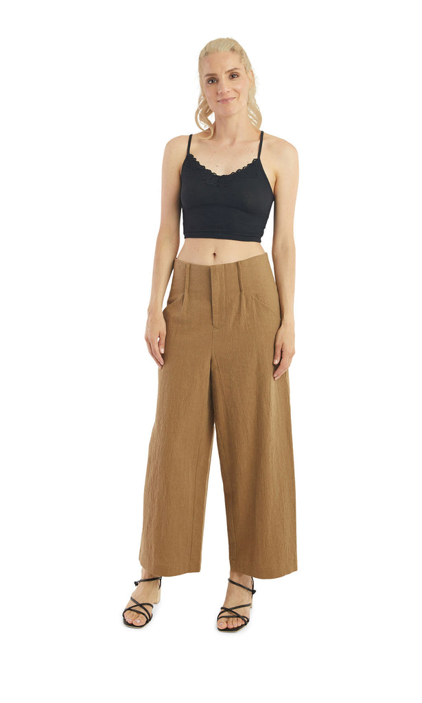 Crinkled Peanut High Waisted Pants