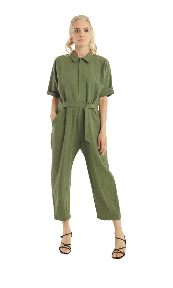 Load image into Gallery viewer, Crinkled Seaweed Buckle Jumpsuit