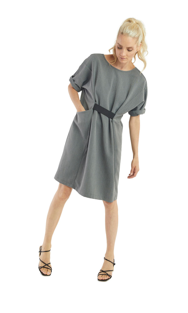 Grey Herringbone Cinched Dress