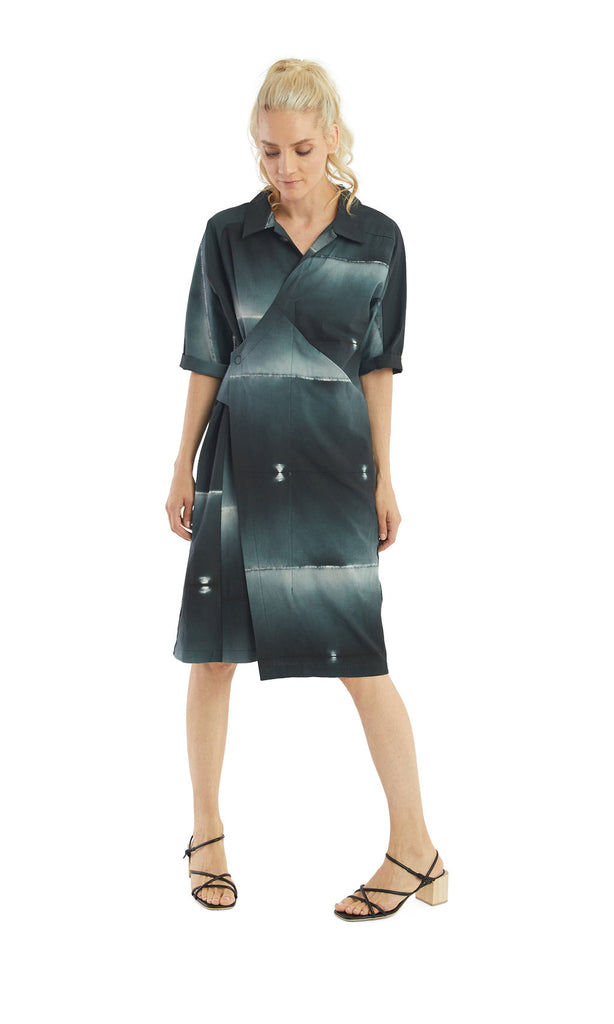 Ink Shibori Wrap Shirt Dress