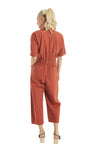 Crinkled Chili Buckle Jumpsuit