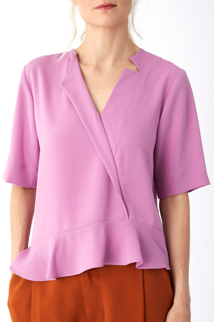 Single Lapel Top Dusty Pink