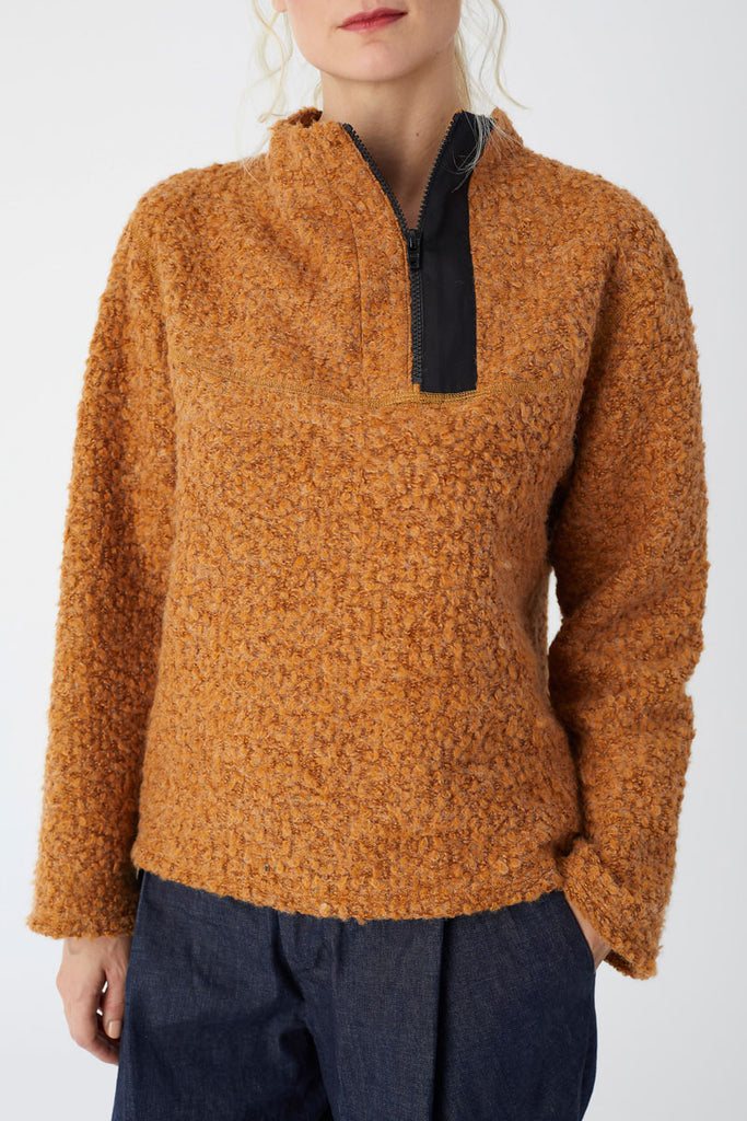 Rust Knit Zip Pullover