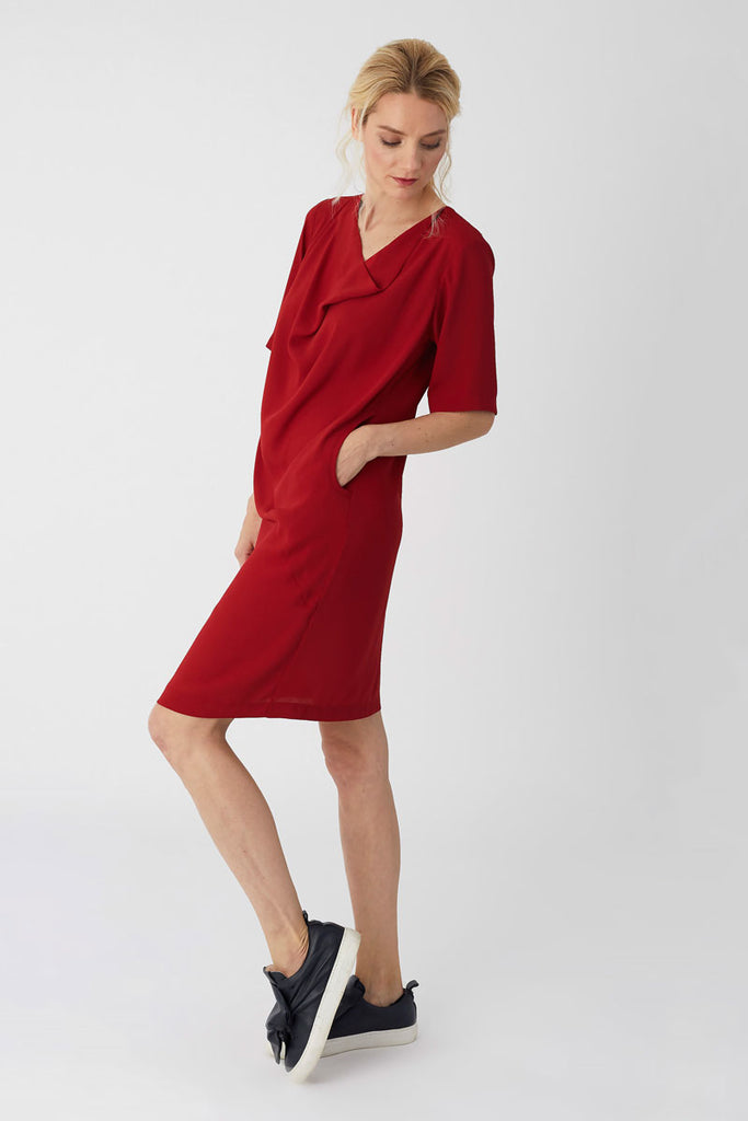 Cowl Neck Dress Red