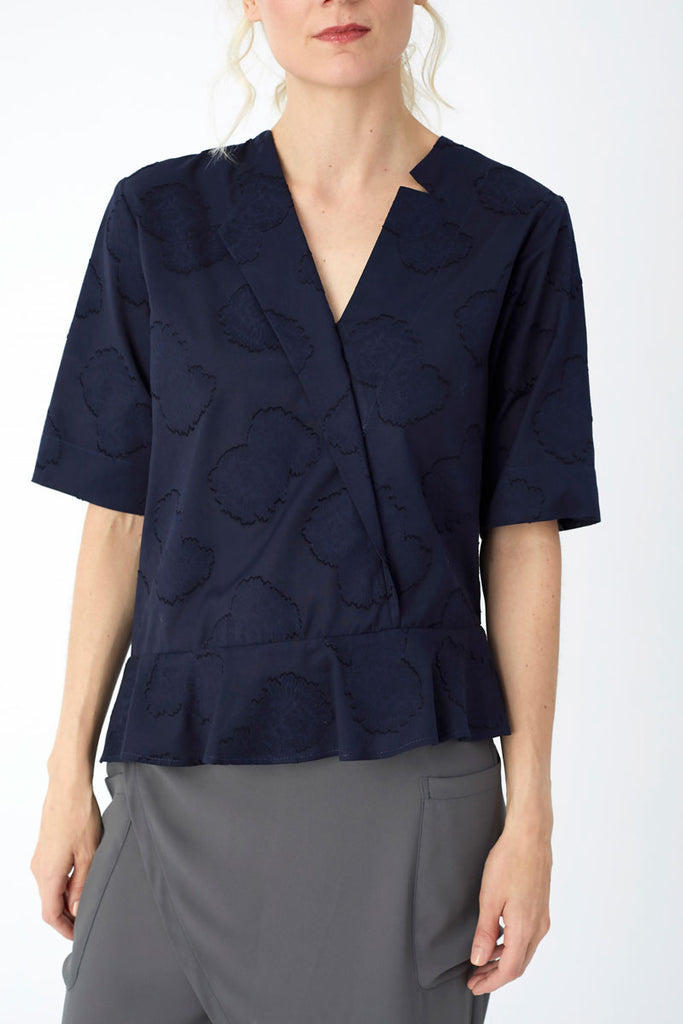 Single Lapel Top Navy Jacquard