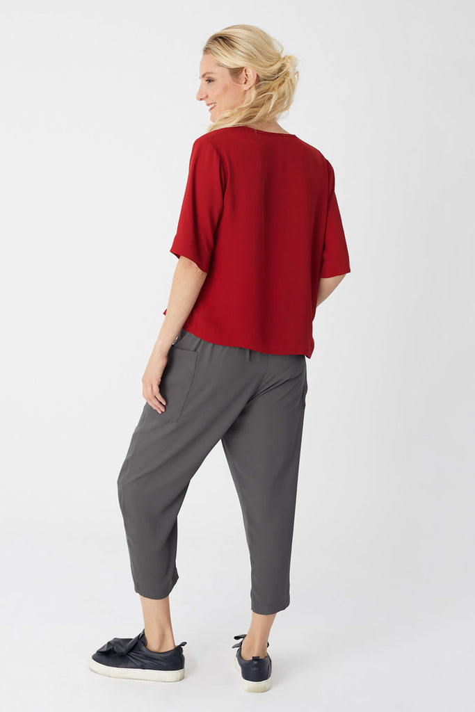 Single Lapel Top Red