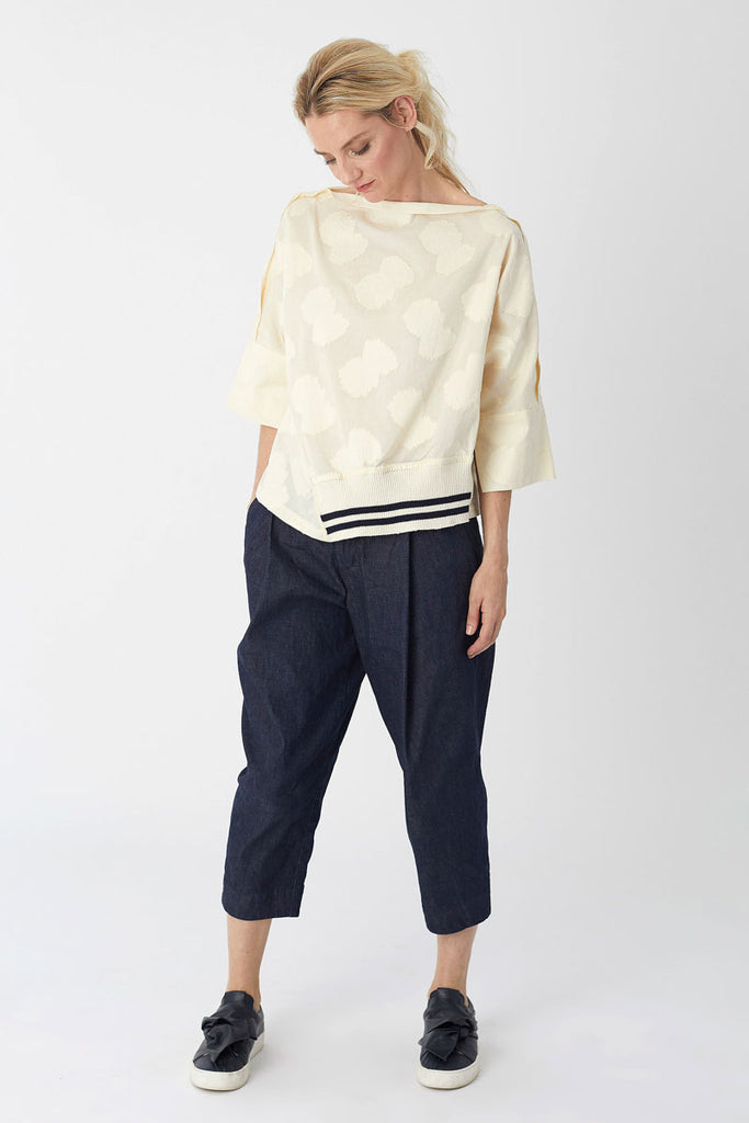Oversized Knit Trim Top Cream Jacquard