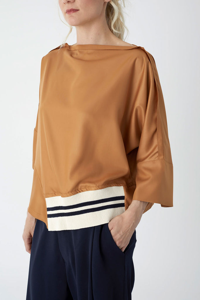 Oversized Knit Trim Top Rust