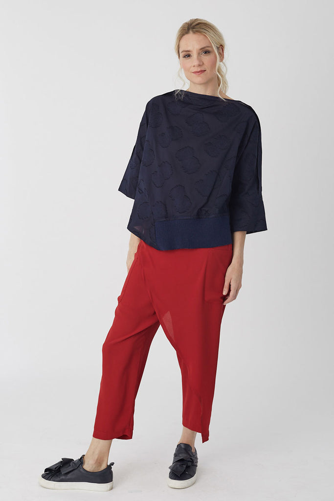 Oversized Knit Trim Top Navy Jacquard