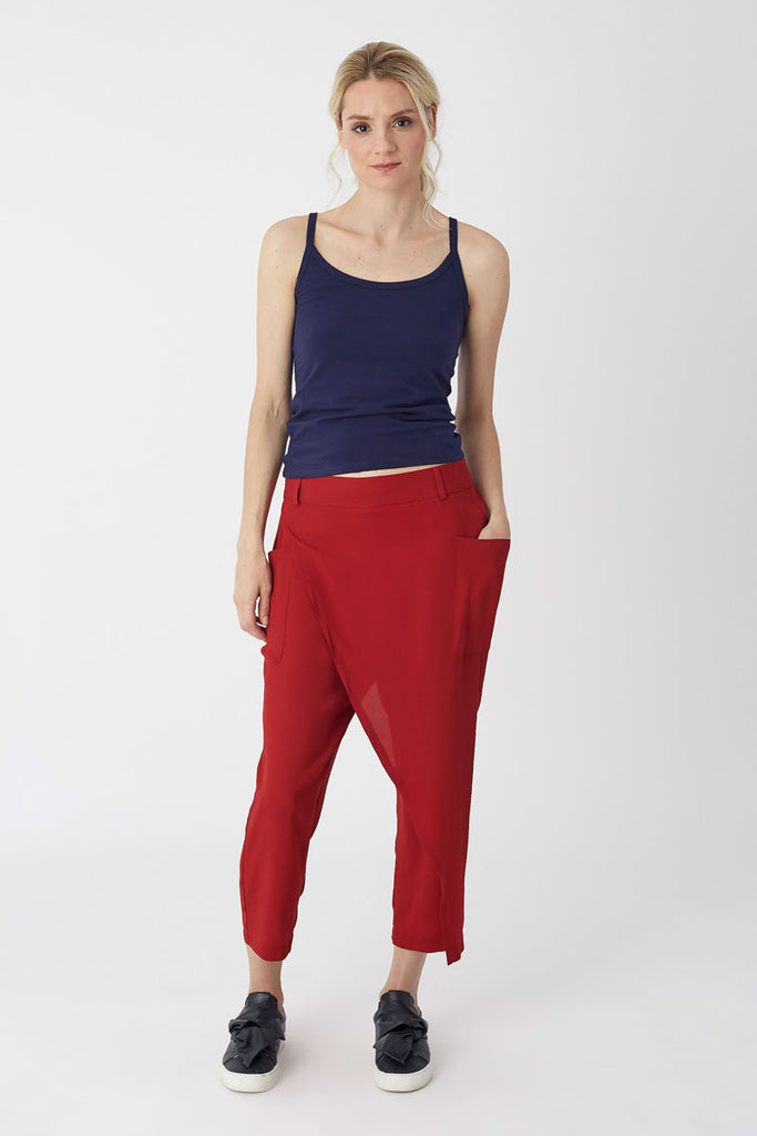 Cargo Pocket Trousers Red