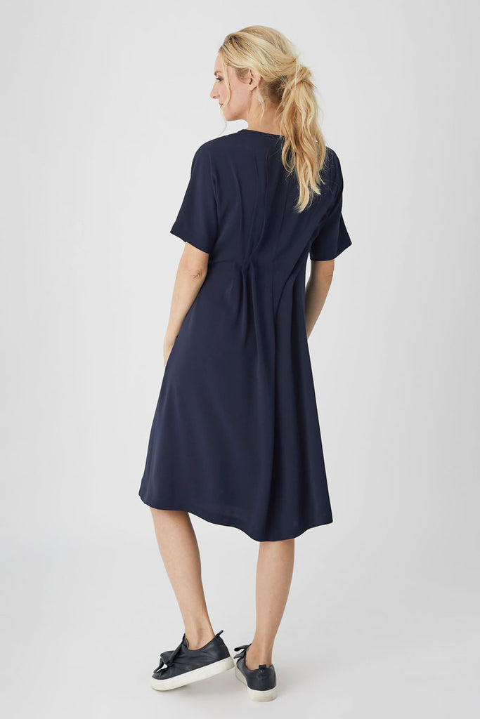 Tucks Dress Navy