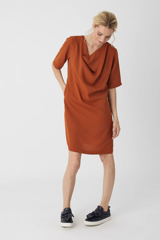 Cowl Neck Dress Cinnamon