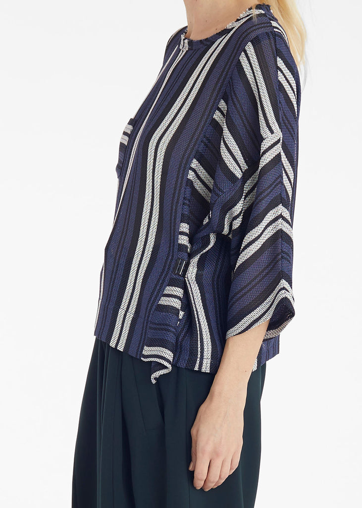 Navy White Stripes Side Hook Top