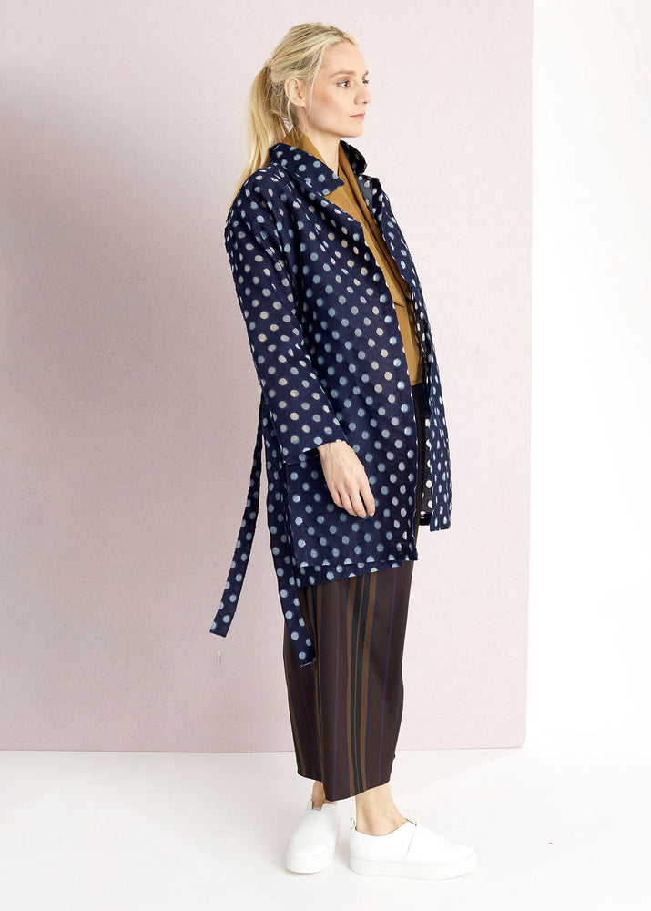 Denim Small Dots Slit Tie Coat