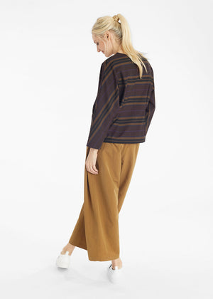 Mocha Stripes Gathered Front Top