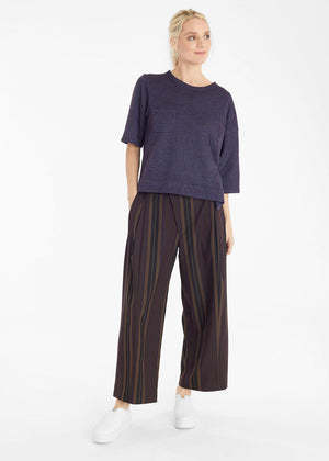 Mocha Stripes Welt Pocket Trousers