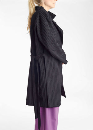 Deconstructed Stripes Slit Tie Coat