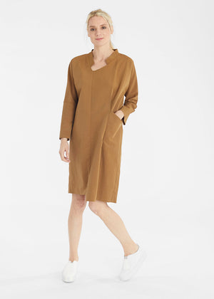 Load image into Gallery viewer, Dijon Tuck Pocket Dress