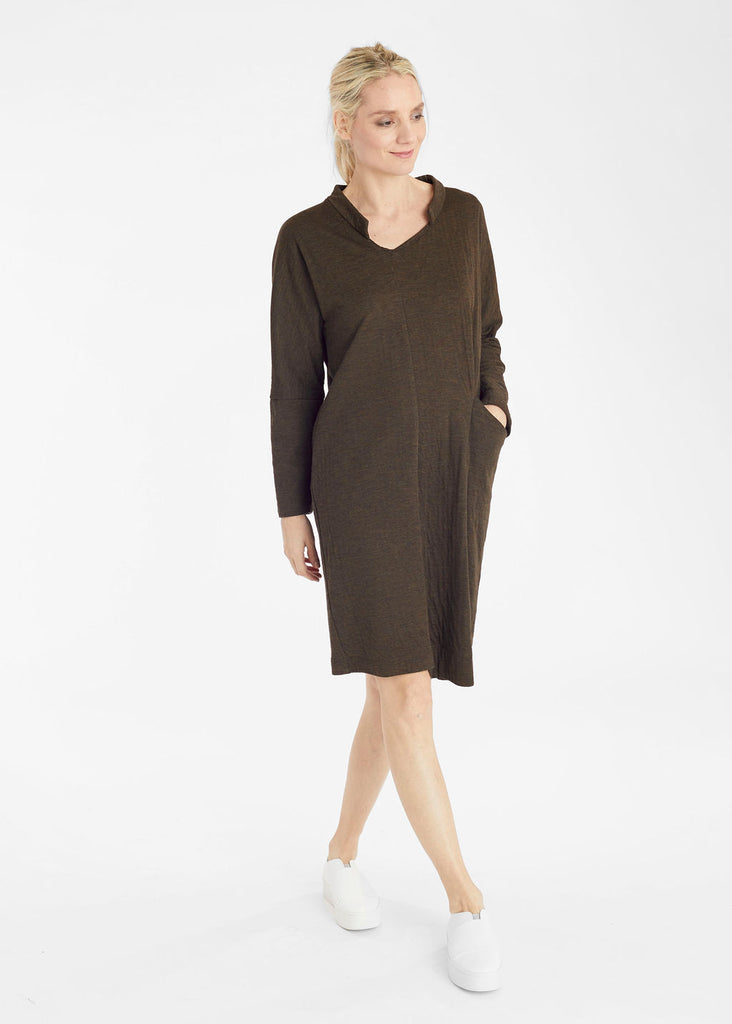 Espresso Knit Tuck Pocket Dress