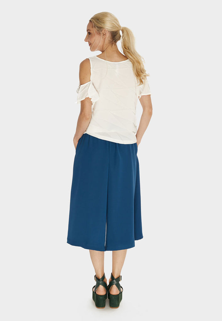 Pleated Ruffle Sleeve Top Cloud