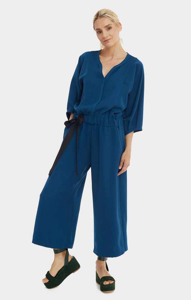 Wide Leg Jumpsuit Teal Blue