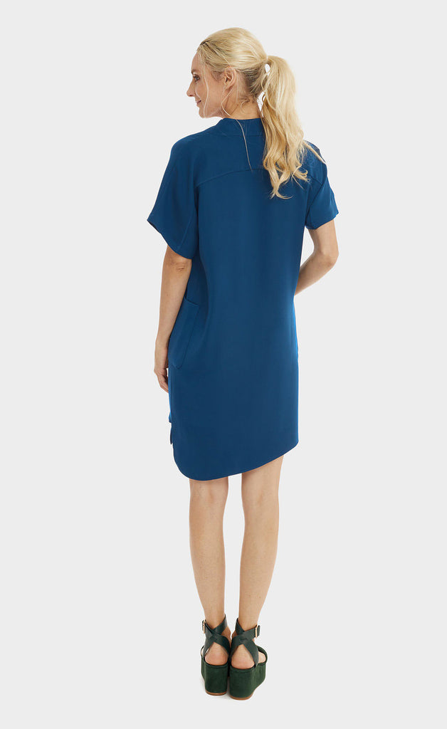 Gathered Shoulder Dress Teal Blue