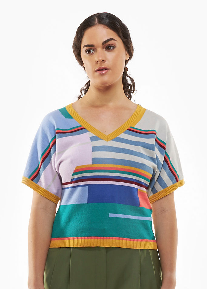 Load image into Gallery viewer, Multi Stripes V-Neck Top