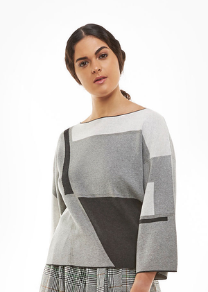 Load image into Gallery viewer, Charcoal Grey Graphic Kimono Top