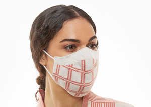 Coral Plaid Full Fashioned Knitted Mask