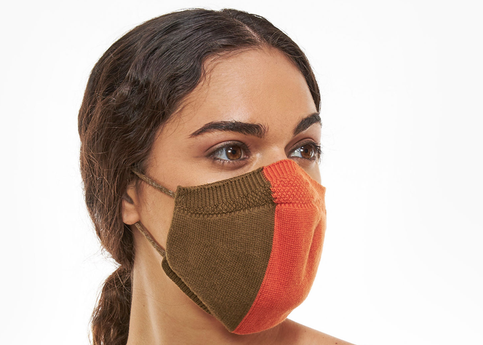 Load image into Gallery viewer, Bicolor Orange Olive Full Fashioned Knitted Mask