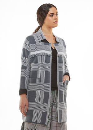 Charcoal Plaid Fringe Coat
