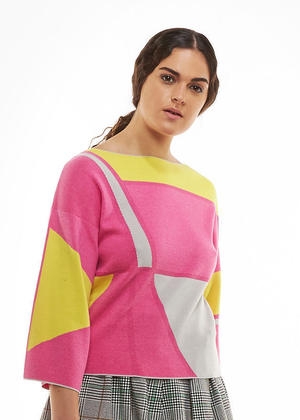 Load image into Gallery viewer, Yellow Pink Graphic Kimono Top