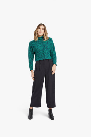 Navy Green Melange Basket Stitch Funnel Neck Top
