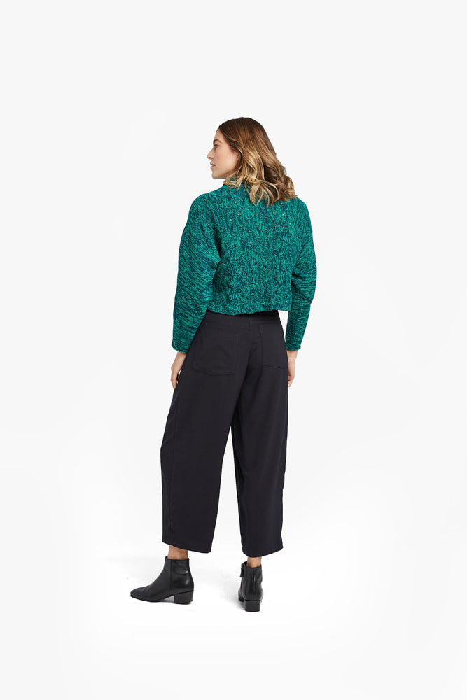 Load image into Gallery viewer, Navy Green Melange Basket Stitch Funnel Neck Top