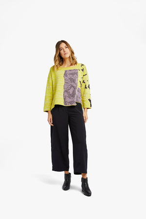 Yellow / Purple Mixed Pattern Jacquard Pocket Pullover