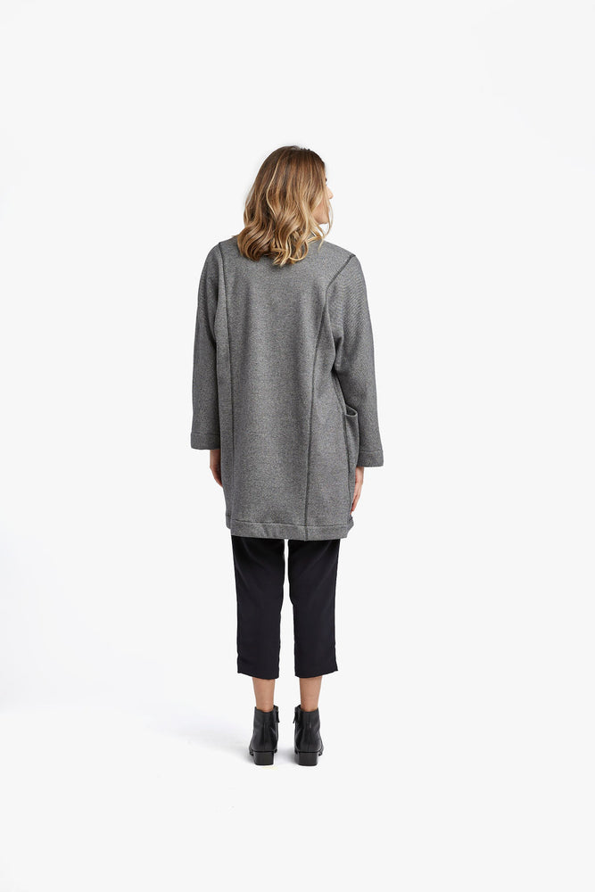 Load image into Gallery viewer, Charcoal Birdseye Cocoon Coat