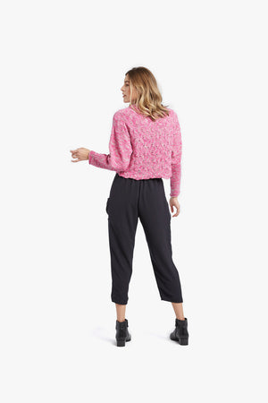 Load image into Gallery viewer, Pink Cement Melange Basket Stitch Funnel Neck Top
