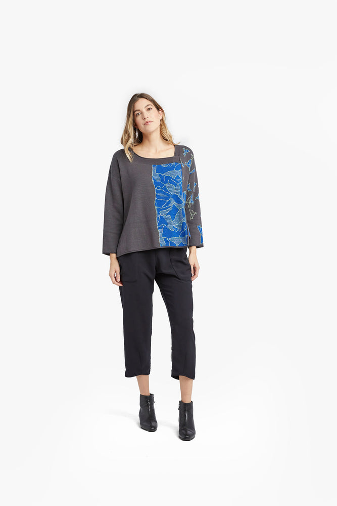 Charcoal / Blue Mixed Pattern Jacquard Pocket Pullover
