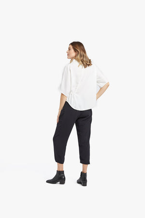 White Funnel Neck Top