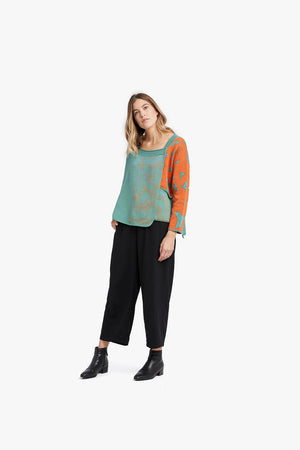 Load image into Gallery viewer, Orange / Cyan Mixed Pattern Jacquard Pocket Pullover
