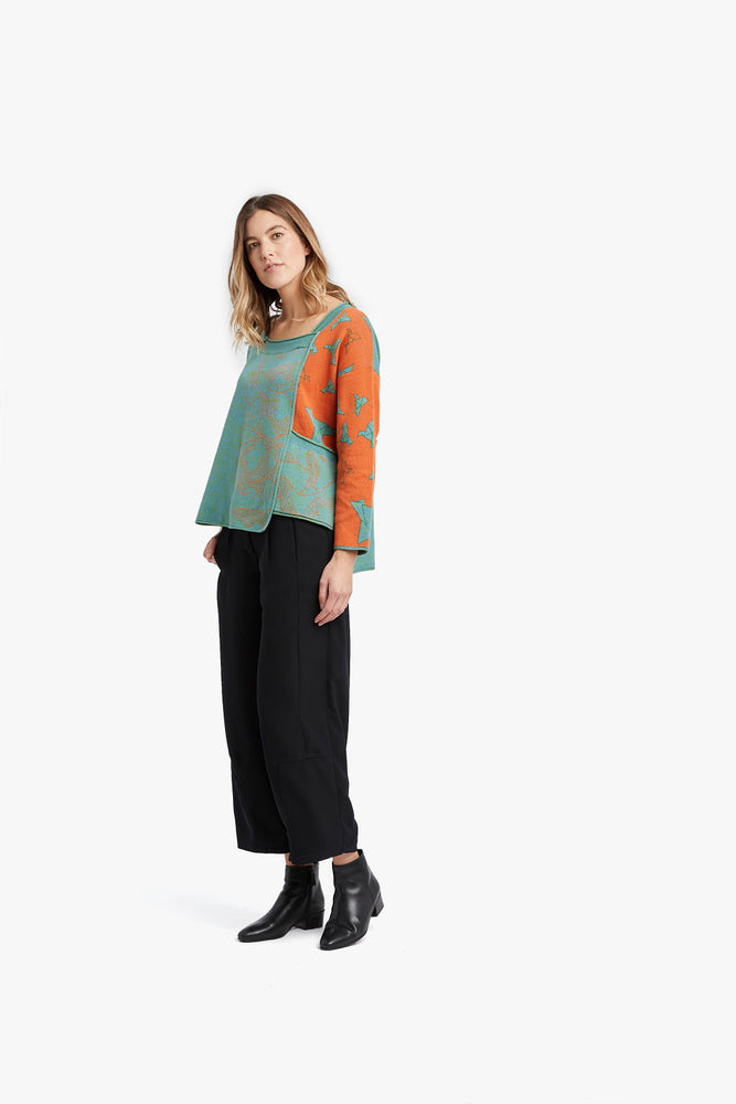 Orange / Cyan Mixed Pattern Jacquard Pocket Pullover