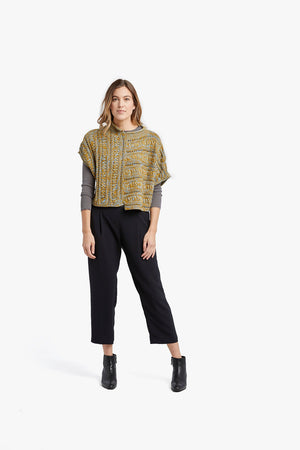 Load image into Gallery viewer, Mustard Blue Melange Smocking Stitch Pullover