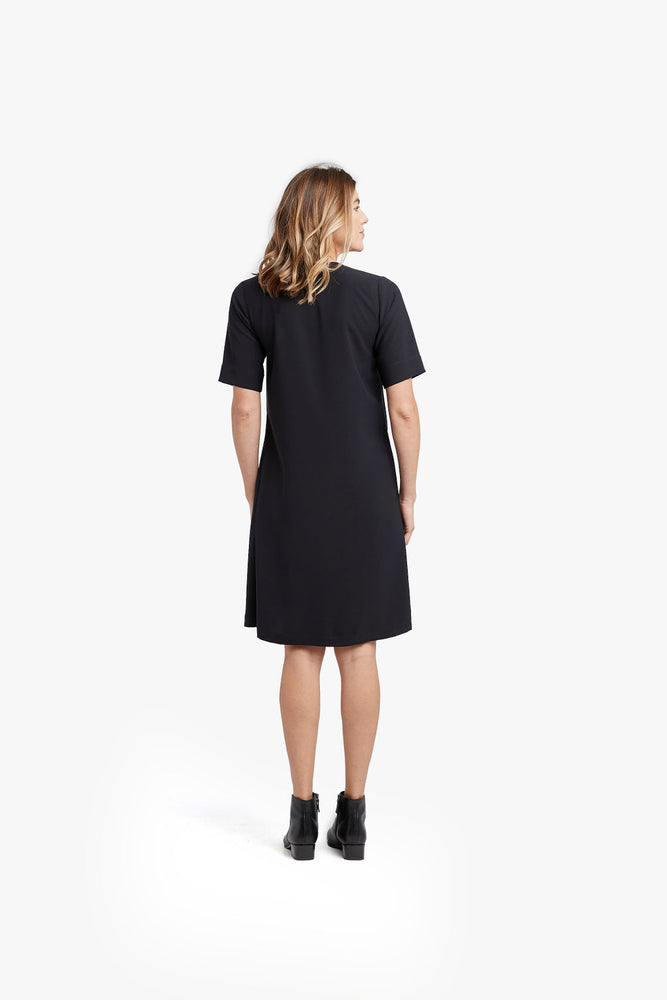 Black Micro Single Lapel Midi Dress