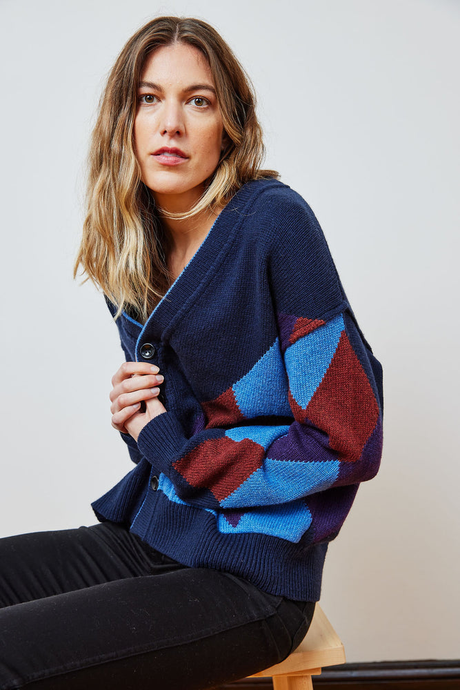 Load image into Gallery viewer, Unisex Partial Argyle Cardigan - FW21 Pre-order