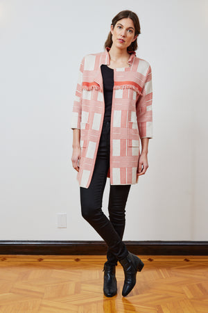 Coral Plaid Fringe Coat